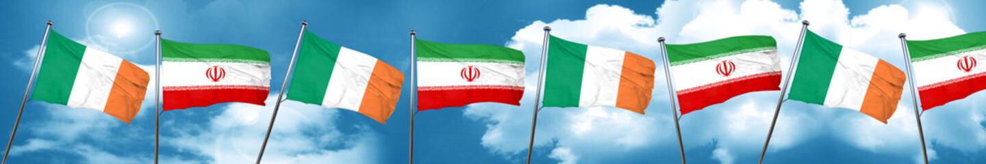 Ireland flag with Iran flag, 3D rendering