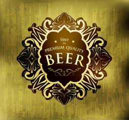 Beer label premium quality, vector illustration