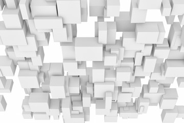 Rendering of white square and rectangle blocks