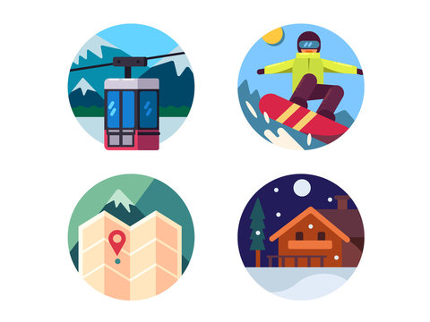 Ski resort set of icons