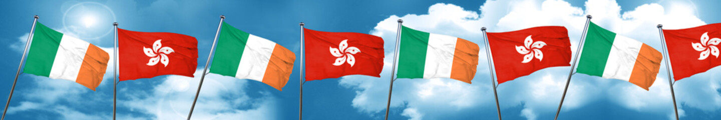 Ireland flag with Hong Kong flag, 3D rendering