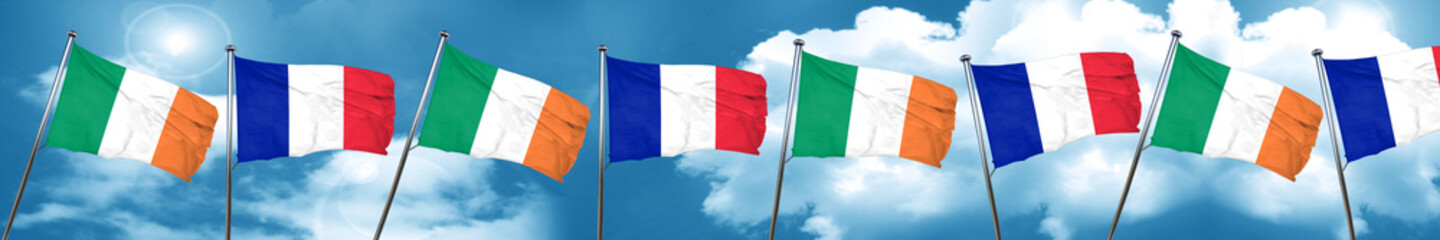 Ireland flag with France flag, 3D rendering