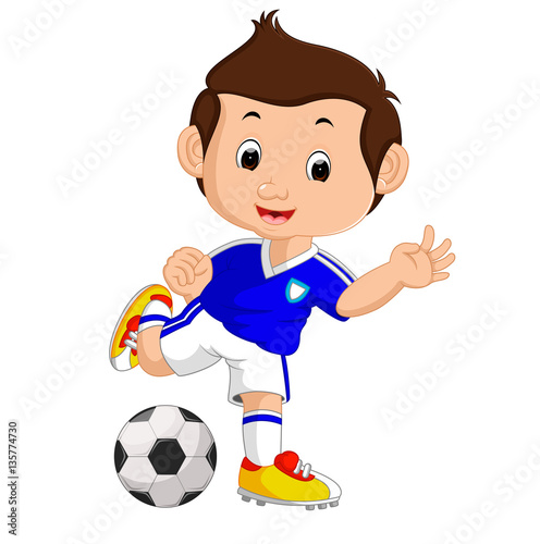 cartoon boy playing football
