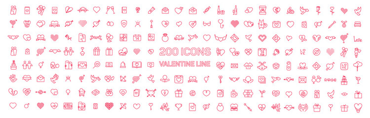 Happy Valentine day thin line flat isolated red 200 icons set on