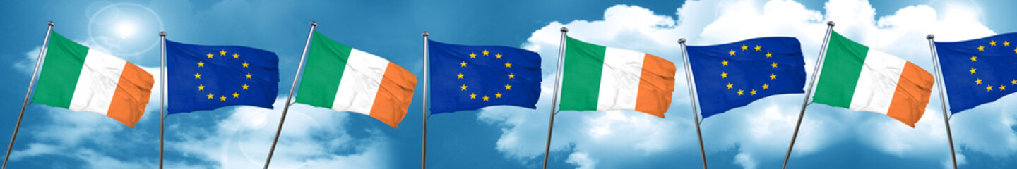 Ireland flag with european union flag, 3D rendering