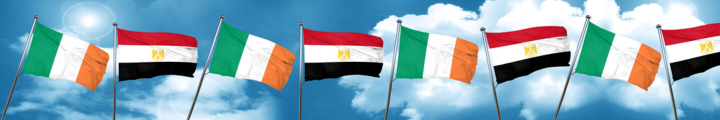 Ireland flag with egypt flag, 3D rendering
