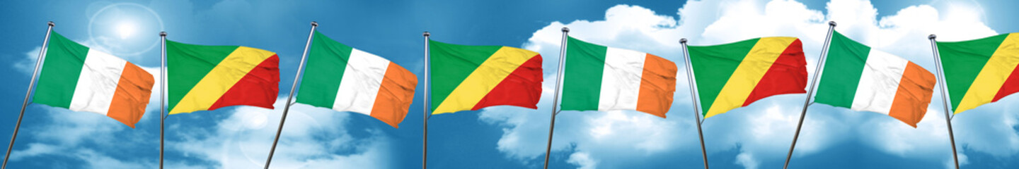 Ireland flag with congo flag, 3D rendering