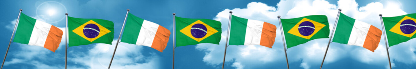 Ireland flag with Brazil flag, 3D rendering