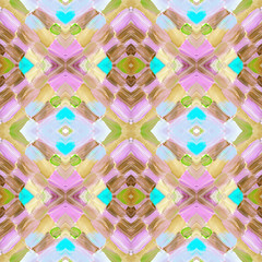Kaleidoscopic abstract tribal seamless pattern. Modern stylish texture. Repeating geometric tiles. Textile fabric print. Wrapping paper. Abstract continuous ornament for design and fashion