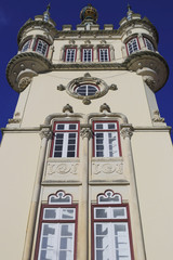 View on one of the historic buildings of the famous village of sintra, portugal