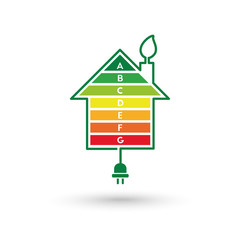 Energy efficient house concept with classification graph bars and wire with plug forming a leaf around it