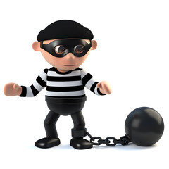 3d Funny burglar character has a ball and chain