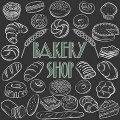 Bread vector set illustration. Bakery collection. Different kinds of baking
