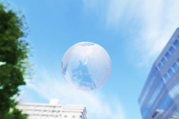 globe blue sky city