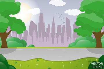 Cartoon cityscape. At home. Street. For your design.