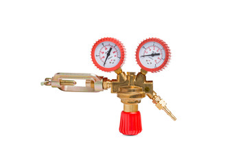 Acetylene cylinder pressure regulator gauge isolated on a white background
