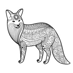 stylized fox in doodles. Pattern style zentangle. Vector sketch for tattoo. Black and white. Coloring page for adult