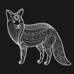 stylized fox in doodles. Pattern style zentangle. Vector sketch for tattoo. Blackboard and white. Coloring page for adult