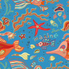 Doodle bright colorful seamless marine pattern