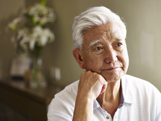 portrait of a sad senior asian man