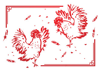Rooster chickens fighting illustration ink brush stroke design in chinese frame red color isolated on white background with copy space, horizontal postcard scale