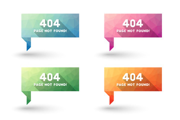 404 error message sign in modern low poly design. Colorful set.