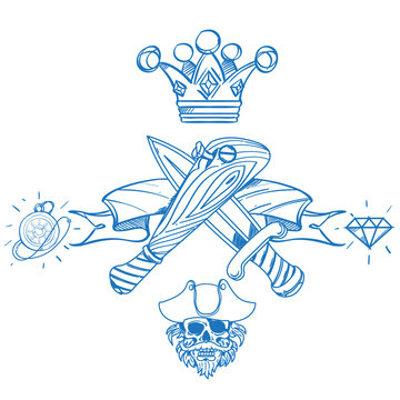 Sketch of tattoo with a crown and a baseball bat. Outline illustration for coloring with machetes. Drawing on themes Ganster to design T-shirts, playing cards, theme parties.