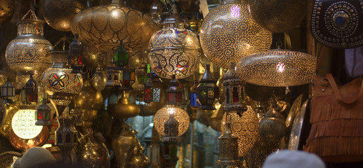 metal chandeliers in the Eastern markets alleys