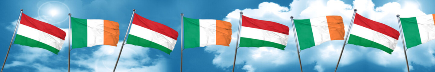 Hungary flag with Ireland flag, 3D rendering
