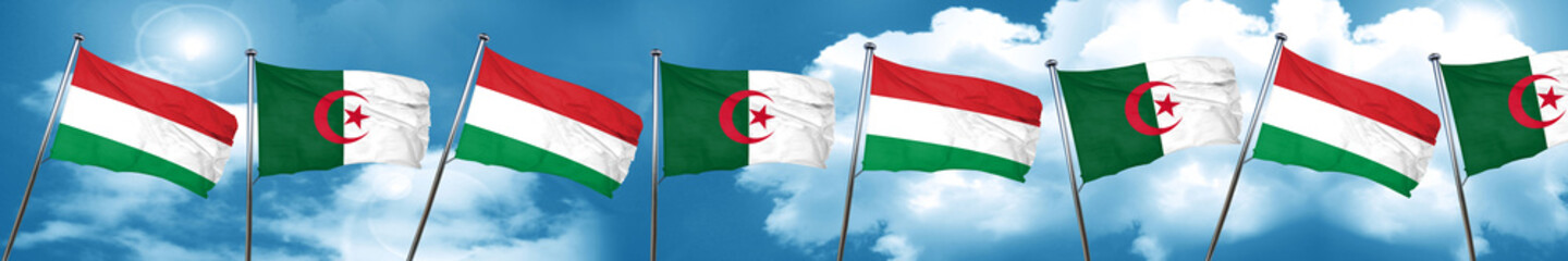 Hungary flag with Algeria flag, 3D rendering