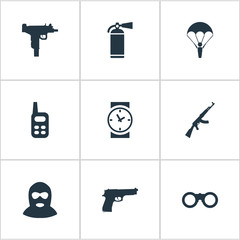 Set Of 9 Simple Battle Icons. Can Be Found Such Elements As Walkies, Paratrooper, Field Glasses And Other.