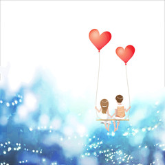 Cartoon lover couple is sitting on red heart balloon swing, being on sky background, Happy Valentines Day concept, Vector Illustration