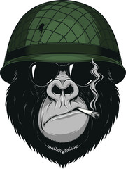 Monkey soldier with a cigarette