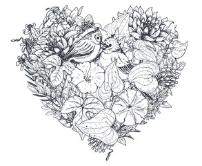 Floral heart. Bouquet with hand drawn flowers and plants.