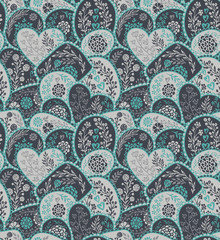 Vector seamless pattern in retro style with hand drawn flowers and branches.