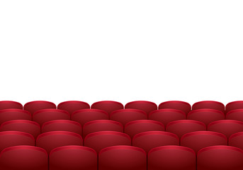 Rows of red cinema or theater seats isolated on white background. Realistic vector illustration.
