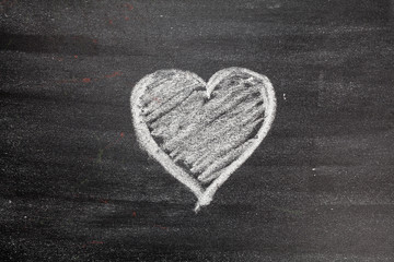 Heart drawn on the chalkboard. White. Valentine's Day. Love.