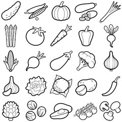 Vegetable icon collection - outline illustration