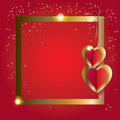 Hearts poster festive gold frame, glitter confetti red background. Border Decoration. Vector Romantic poster. Love, Ornate Romance Event, banner, Typography postcard envelope.