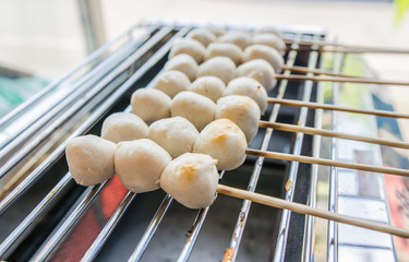 pork ball grill Thailand street food Soft-focus image