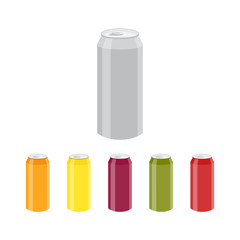 Set of Color Aluminum Cans Template. Package design. Bank of carbonated water. Tasty drink, can lemonade or beer. Vector illustration