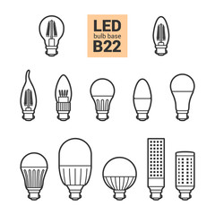 LED light bulbs with B22 base, vector outline icon set on white background