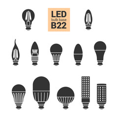 LED light bulbs with B22 base, vector silhouette icon set on white background