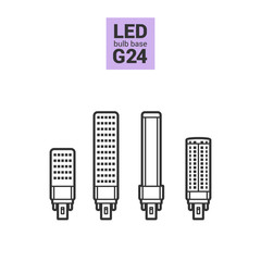 LED light bulbs with G24 base, vector outline icon set on white background