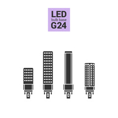 LED light bulbs with G24 base, vector silhouette icon set on white background