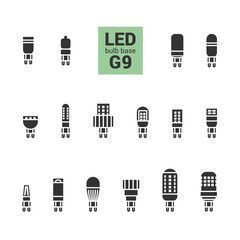 LED light bulbs with G9 base, vector silhouette icon set on white background