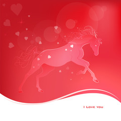 Brightly glowing vector illustration of a galloping horse. Juicy red pink background. I love you.