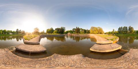 Full 360 degree equirectangula panorama quay waterfalls