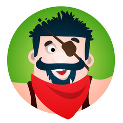 Round sticker with the image of a fun pirate with eye patch. Cartoon illustration for gaming mobile applications and for design t-shirts and other items. Avatar Robber.
