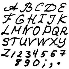 English ABC alphabet or typeface. Grunge style